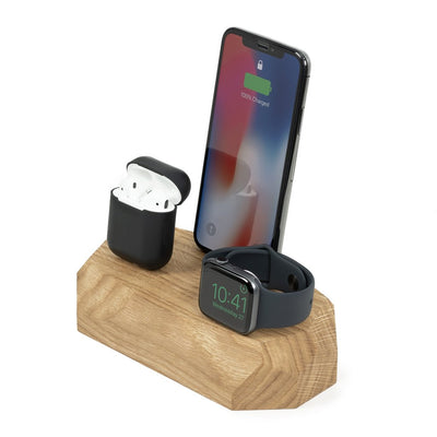 Base de carga triple iPhone, Apple Watch y AirPods Roble