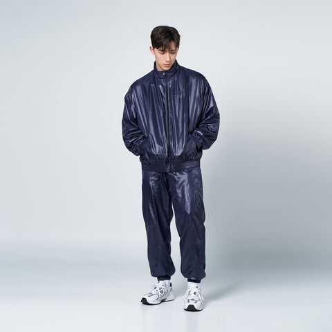 アクメドラビ(acme' de la vie) GLOSSY WOVEN SET-UP JACKET NAVY
