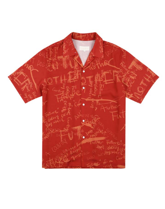 サーティーンマンス(13MONTH) GRAFFITI HALF SLEEVE SHIRT (RED)