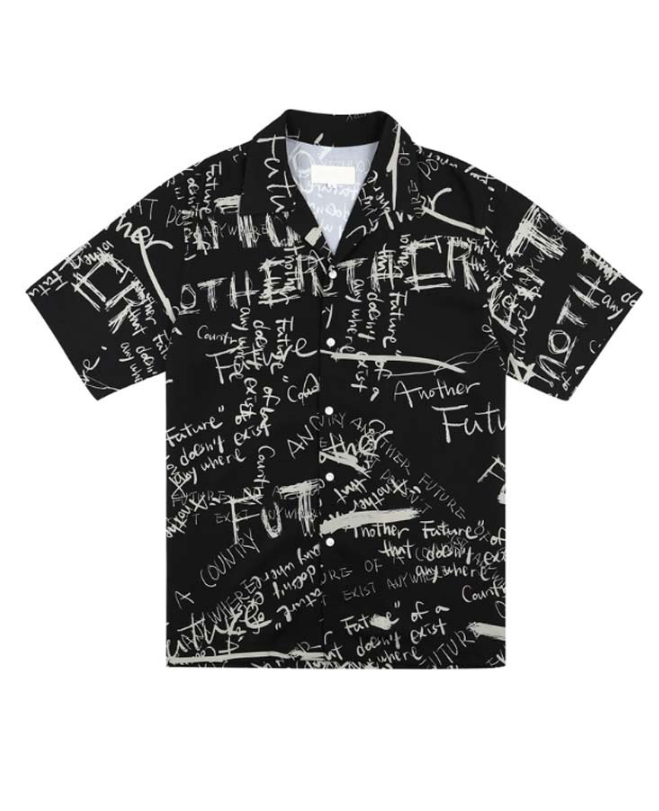 サーティーンマンス(13MONTH) GRAFFITI HALF SLEEVE SHIRT (BLACK)