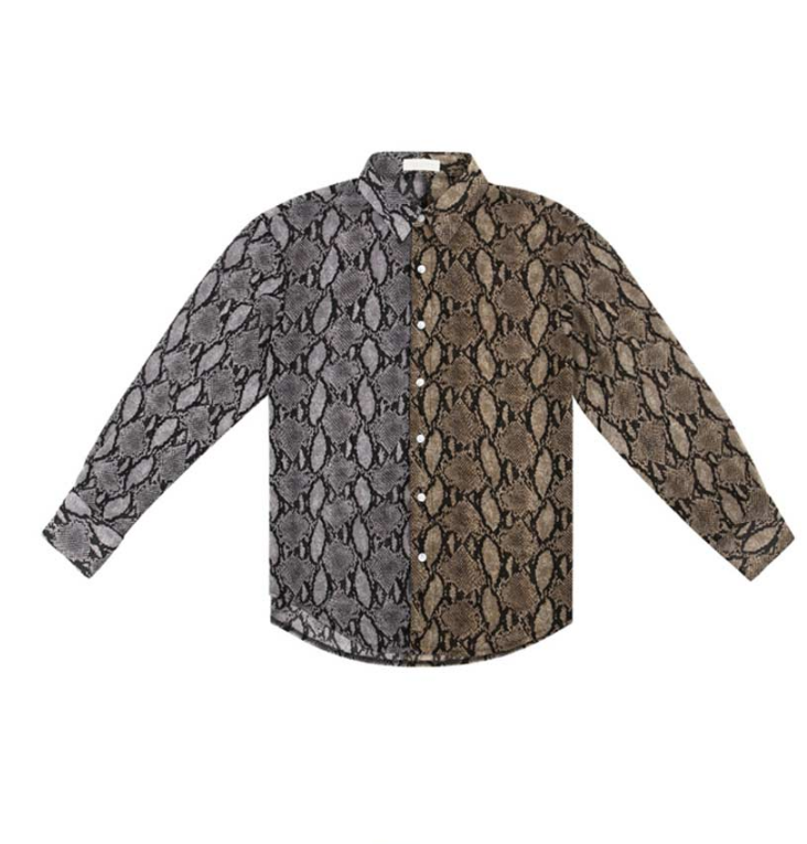 サーティーンマンス(13MONTH) PYTHON SKIN LONG SLEEVE SHIRT (GRAY)