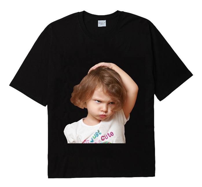 アクメドラビ(acme' de la vie) ADLV BABY FACE SHORT SLEEVE T-SHIRT BLACK WHITE T-SHIRT GIRL