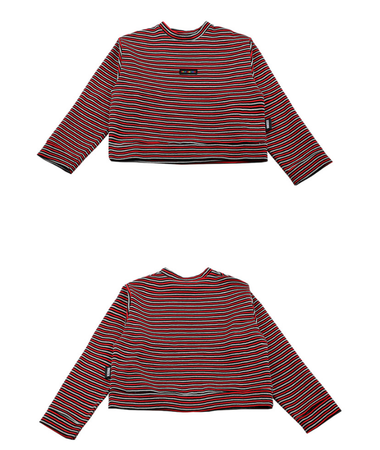 ベーシックコットン(BASIC COTTON) Basic Stripe Sweatshirt (レッド)