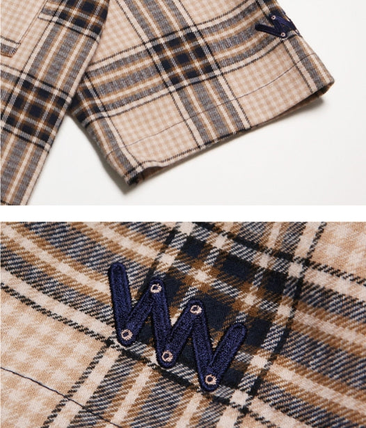 ダブルユーブイプロジェクト(WV PROJECT) BEAN CHECK SHIRT BEIGE KHSS7183