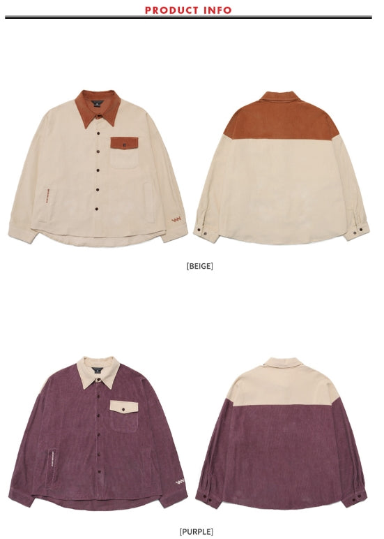 ダブルユーブイプロジェクト(WV PROJECT) LOKO CORDUROY SHIRT PURPLE MJLS7195