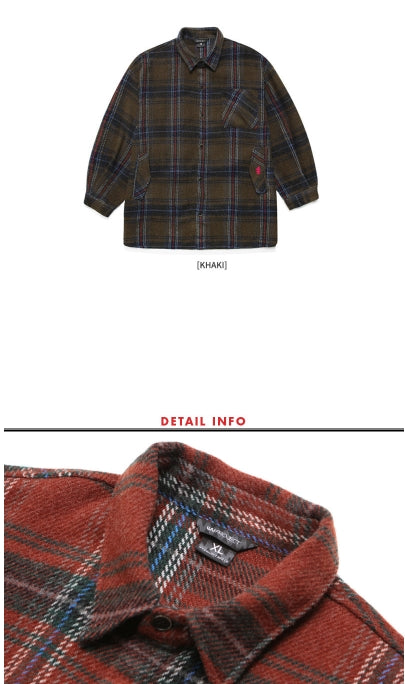 ダブルユーブイプロジェクト(WV PROJECT) BABI CHECK SHIRT RED BROWN MJLS7210