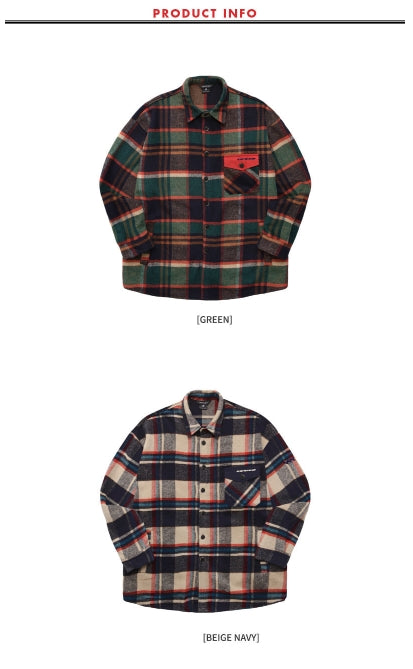 ダブルユーブイプロジェクト(WV PROJECT) ISNEY CHECK SHIRT BEIGE NAVY MJLS7193