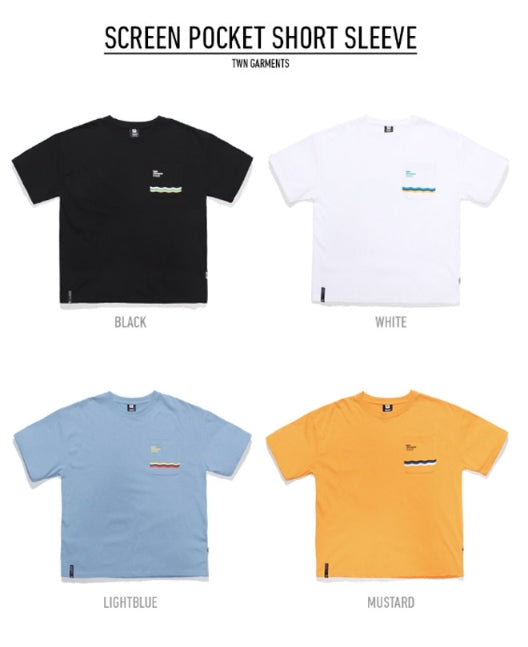 ティーダヴリューエヌ(TWN) SCREEN POCKET SHORT SLEEVE STST3185 (BLACK,WHITE,LIGHTBLUE.MUSTARD)