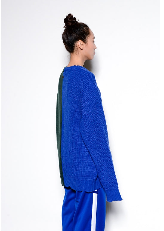 ステレオバイナルズ(Stereo Vinyls) [SS17 Colour] Boucle Letter Knit(Blue)
