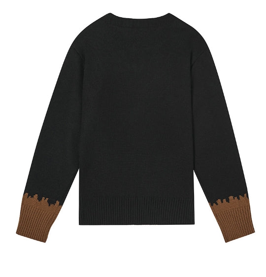 ステレオバイナルズ(Stereo Vinyls) [AW17 NOUNOU] Round Neck Knit(Brown)