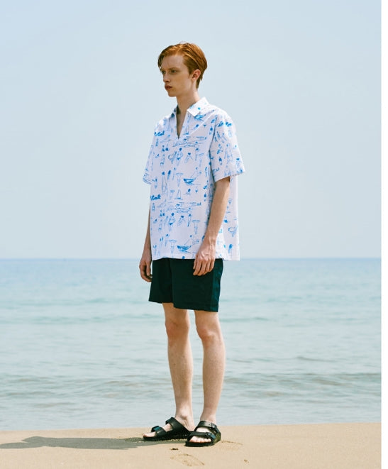 ステレオバイナルズ(Stereo Vinyls) [SS18 NOUNOU] Summer Beach Oxford Popover Shirts (White)