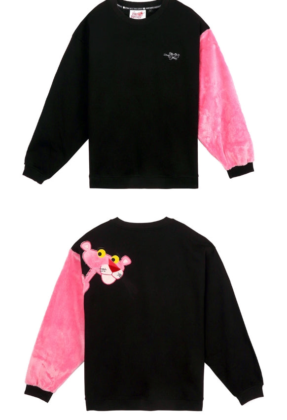 ステレオバイナルズ(Stereo Vinyls) [FW18 Pink Panther] Fur Sleeve Sweatshirts(Black)