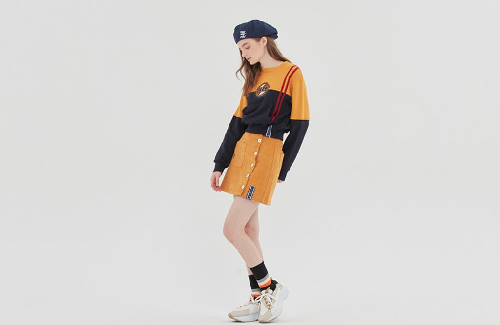 ロマンティッククラウン(ROMANTIC CROWN)GNAC COLOR BLOCK SWEATSHIRT_YELLOW