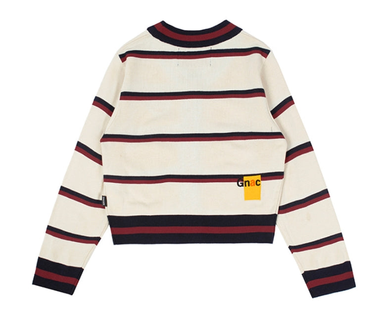 ロマンティッククラウン(ROMANTIC CROWN) CLASSIC LOGO STRIPE CARDIGAN_OATMEAL