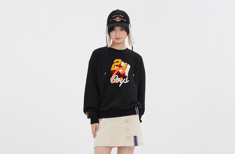 ロマンティッククラウン(ROMANTIC CROWN)  COLOR LOGO SWEATSHIRT_BLACK