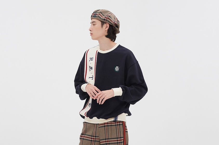 ロマンティッククラウン(ROMANTIC CROWN) CROSS LINE SWEATSHIRT_NAVY