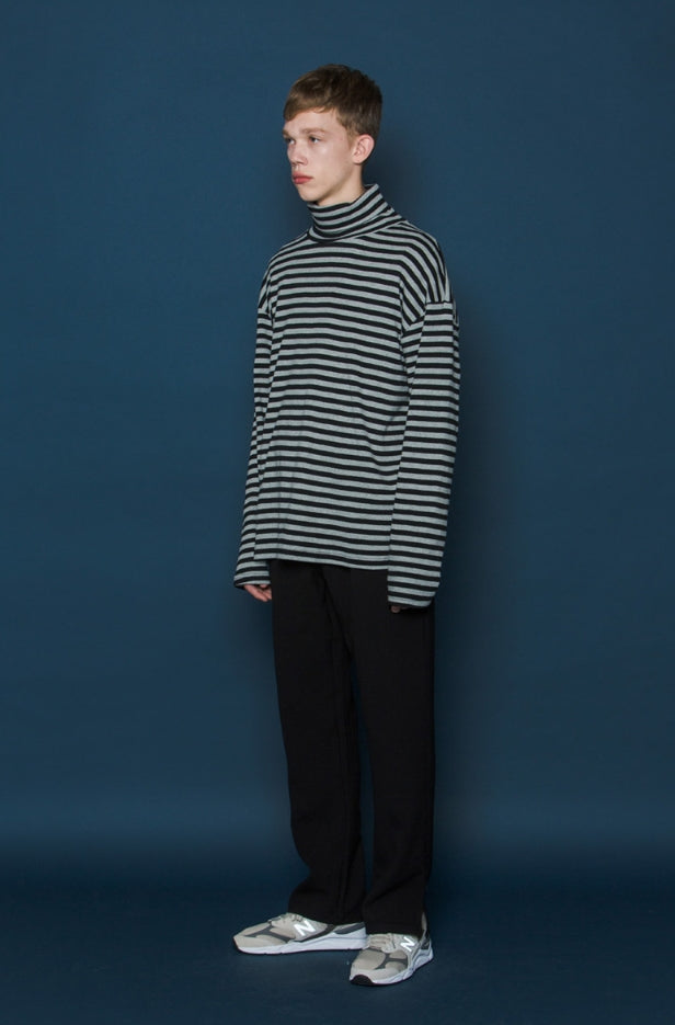 スローアシッド(SLOW ACID)  Stripe Turtleneck Long-T (BLACK)