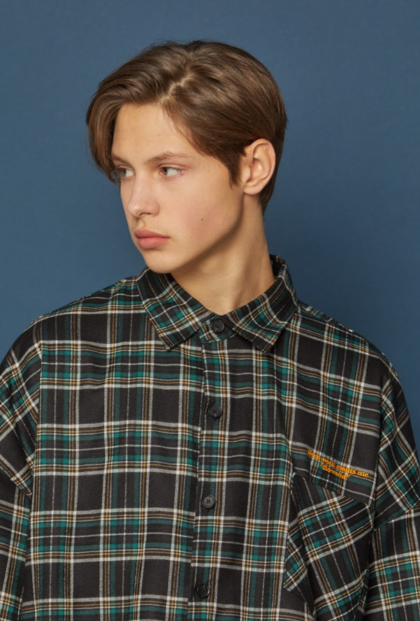スローアシッド(SLOW ACID) Pocket Lettering Check Shirt (BLACK)