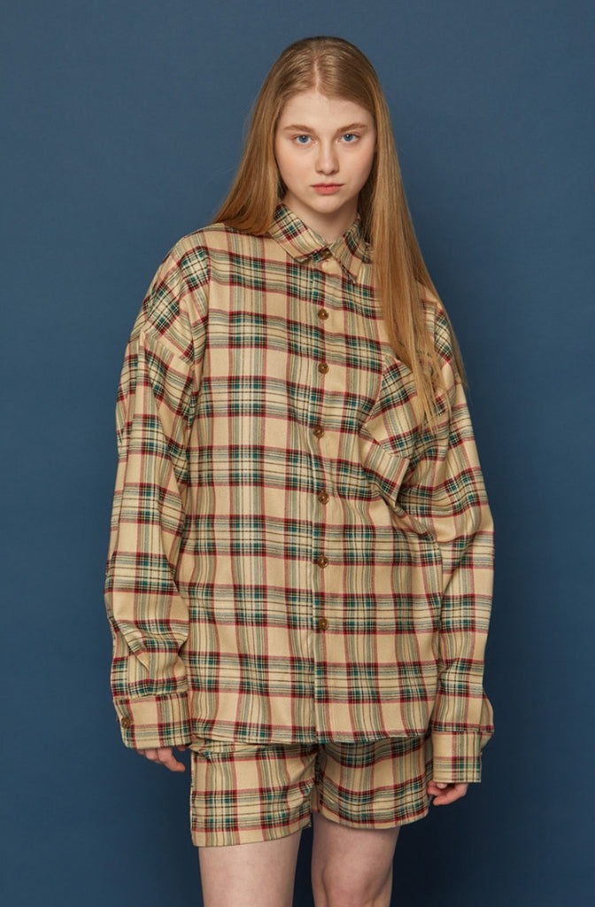 スローアシッド(SLOW ACID)  Pocket Lettering Check Shirt (BEIGE)