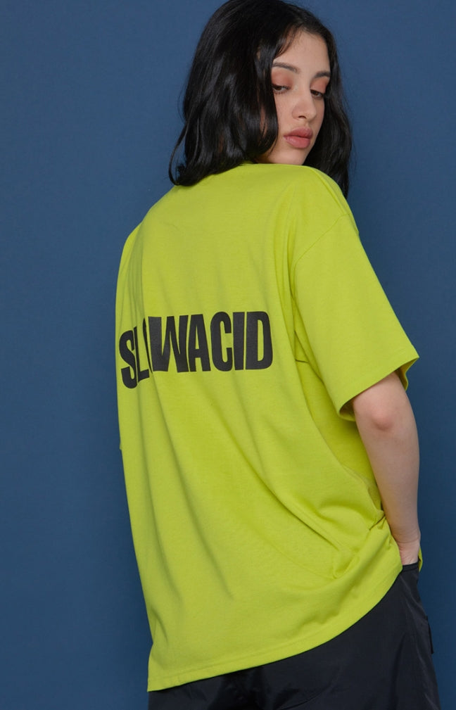 スローアシッド(SLOW ACID) Back Logo Short-T (LIME)