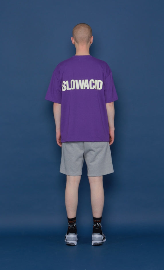 スローアシッド(SLOW ACID) INSEAM Lettering Half Pants (GREY)