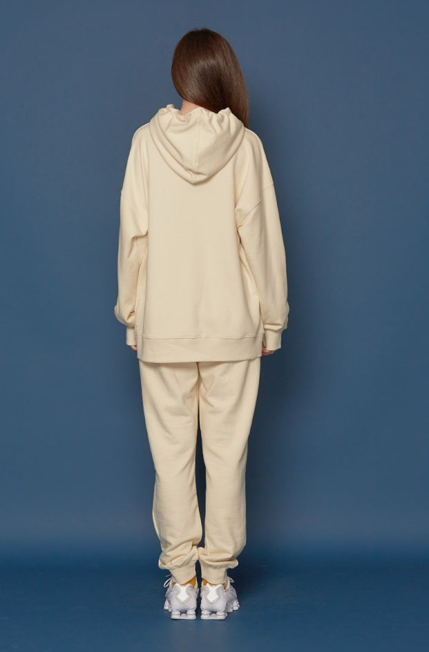 スローアシッド(SLOW ACID) Leather Patch Hoodie (IVORY)