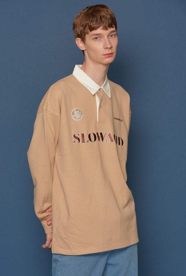 スローアシッド(SLOW ACID) Shirt Collar Sweatshirt (BEIGE)