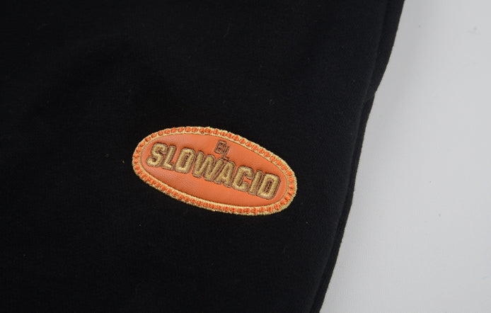 スローアシッド(SLOW ACID)  Leather Patch Sweatpants (BLACK)