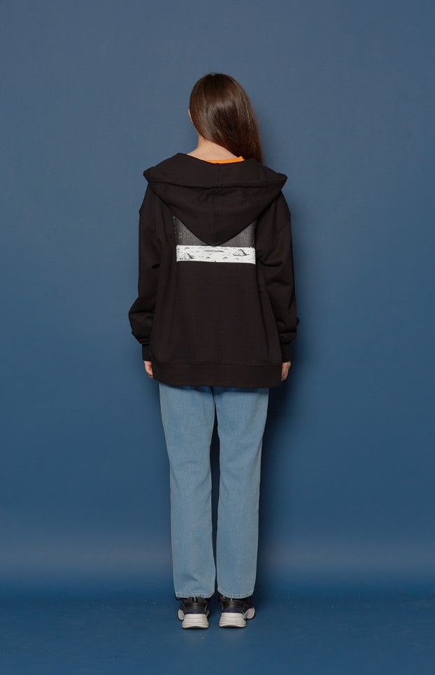 スローアシッド(SLOW ACID) Night scene Hood Zip-up (BLACK)