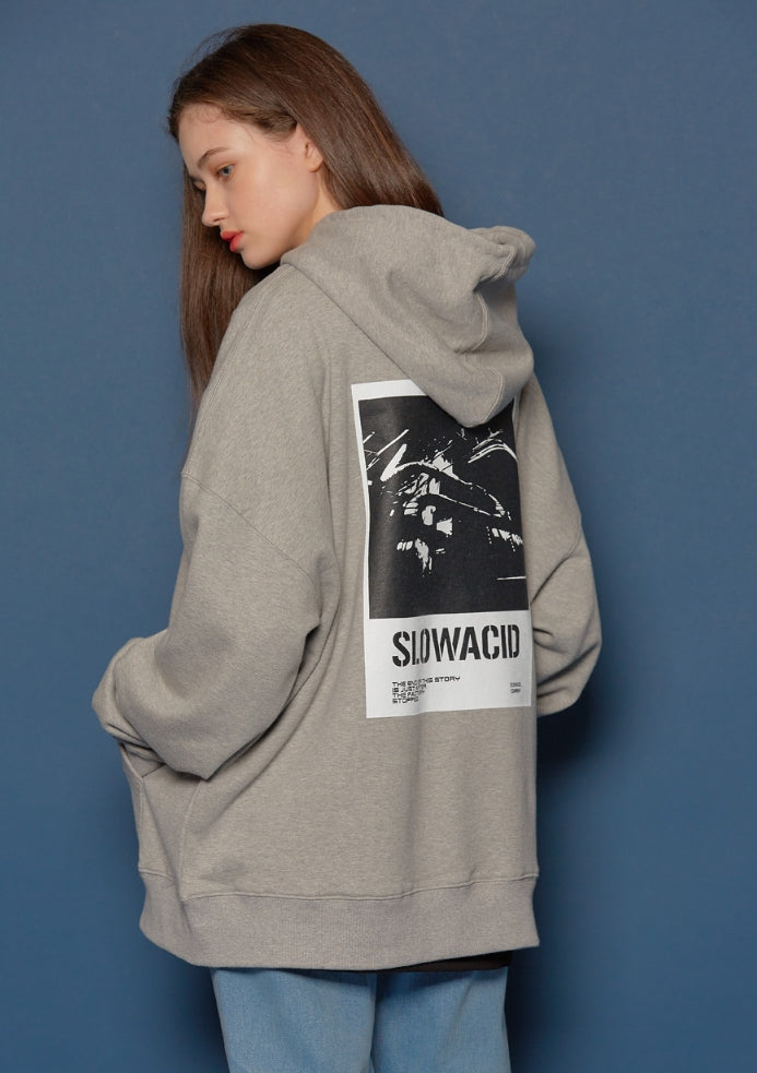 スローアシッド(SLOW ACID) Turnover Oversized Hoodie (GREY)