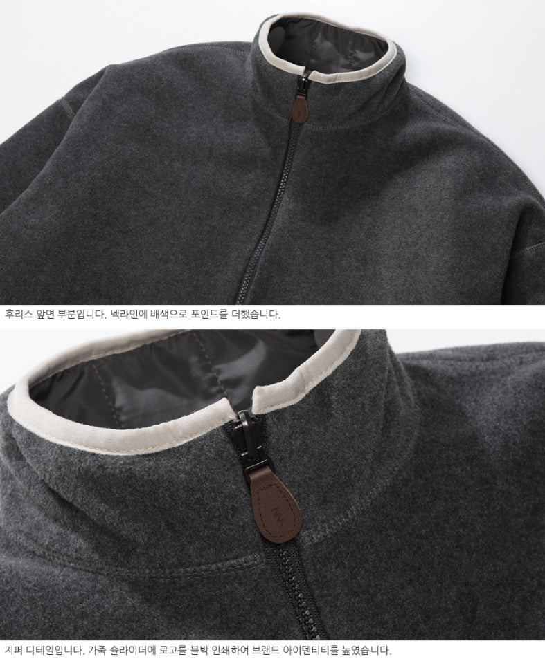 ダブルユーブイプロジェクト(WV PROJECT) DILL LINE REVERSIBLE FLEECE ZIPUP DARKGRAY MJOT7296