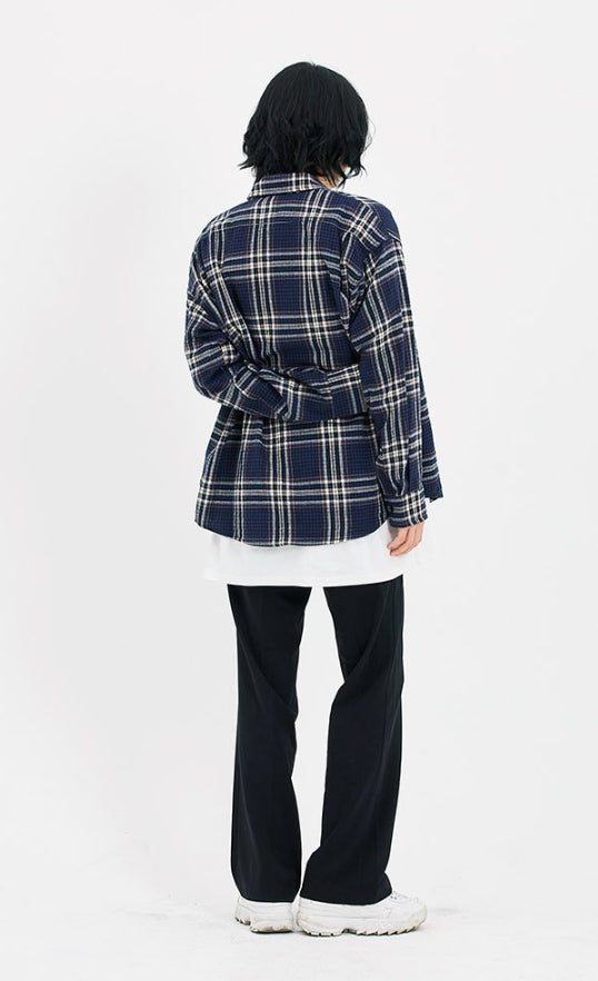 セイントペイン(SAINTPAIN)SP FLANNEL CHECK SHIRTS-NAVY