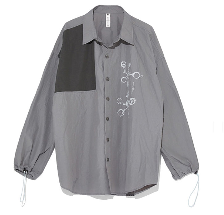 オベルー(OVERR) 19FW COLOR BLOCKED GRAY SHIRTS