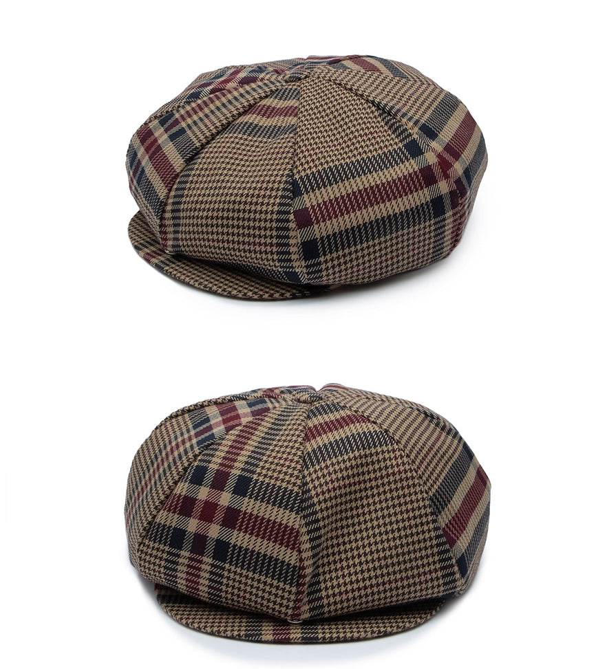 ロマンティッククラウン(ROMANTIC CROWN) OLD CHECK NEWSBOY CAP_BEIGE
