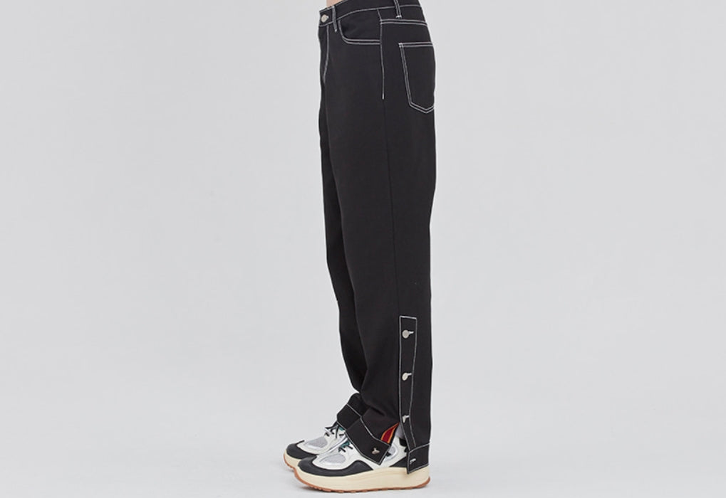 ロマンティッククラウン(ROMANTIC CROWN)  SIDE CUT BUTTON PANTS_BLACK