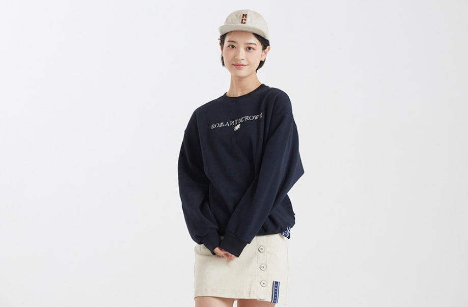 ロマンティッククラウン(ROMANTIC CROWN)ROMANTICCROWN LOGO SWEATSHIRT_NAVY