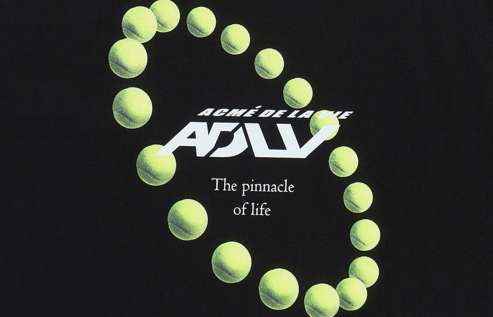 アクメドラビ(acme' de la vie) ADLV TENNIS BALL SHORT SLEEVE T-SHIRT BLACK