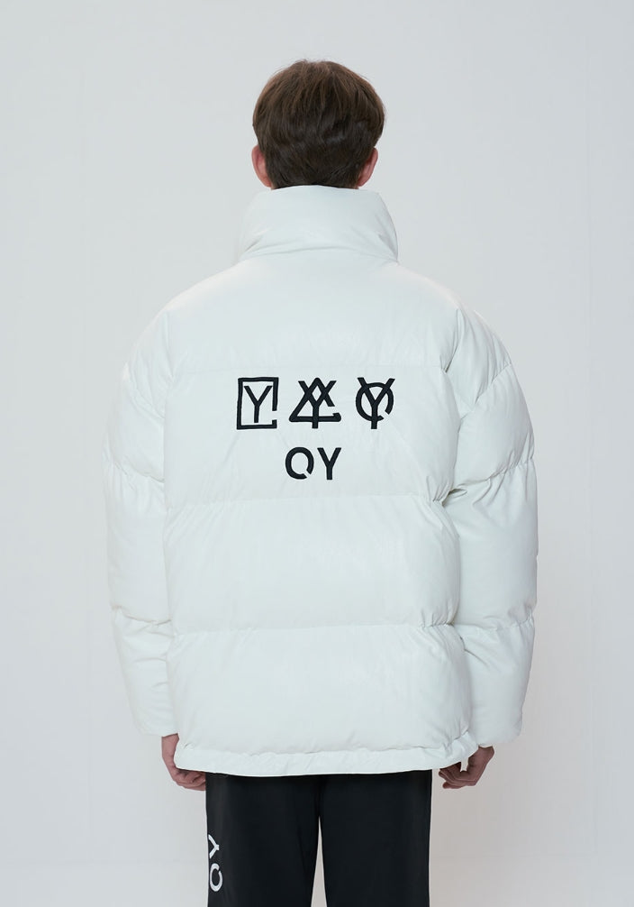 オーワイ(OY)  TRIPLE LOGO LEATHER PADDING - WHITE