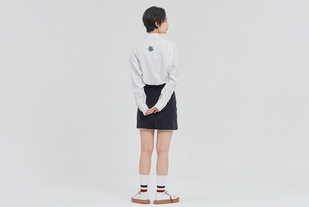 ロマンティッククラウン(ROMANTIC CROWN) 21C BOYS STRIPED SHIRT_WHITE