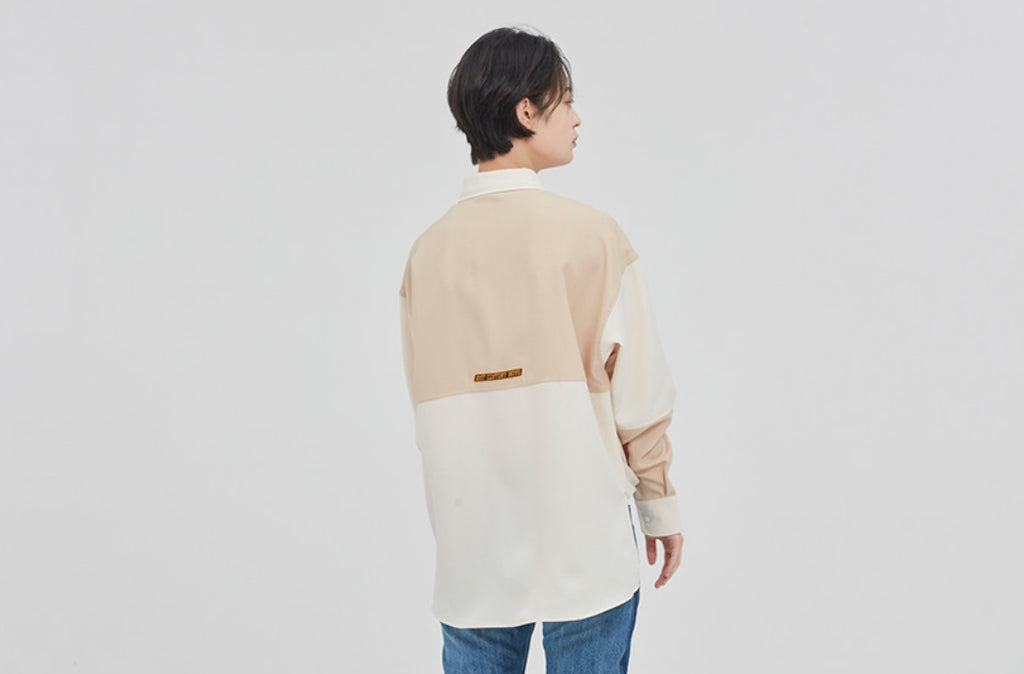 ロマンティッククラウン(ROMANTIC CROWN) UP AND DOWN BLOCK SHIRT_BEIGE