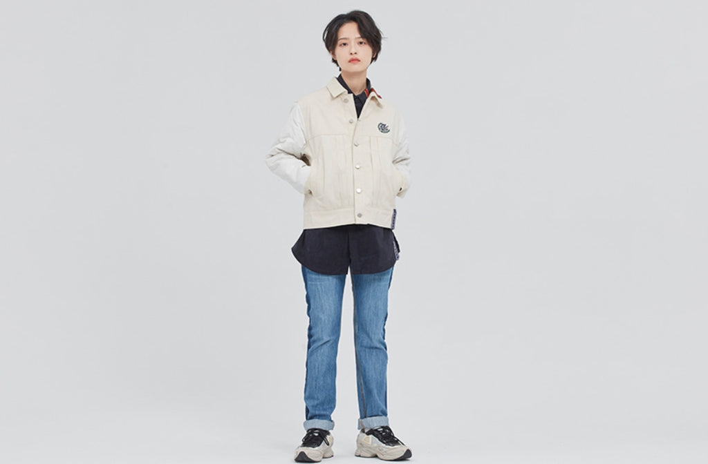 ロマンティッククラウン(ROMANTIC CROWN) QUILTING TRUCKER JACKET_OATMEAL