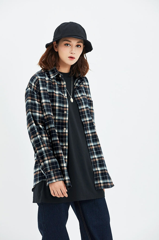 セイントペイン(SAINTPAIN) SP WIDE CHECK SHIRTS-BLACK