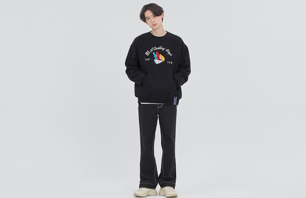 ロマンティッククラウン(ROMANTIC CROWN) BOYS CREWNECK_BLACK