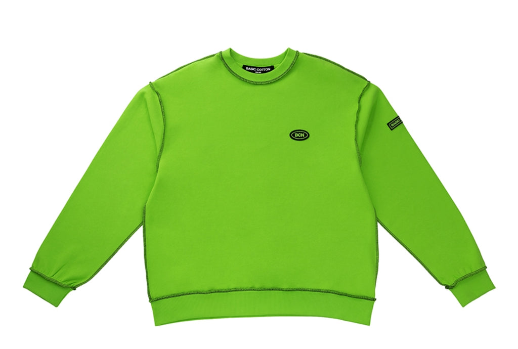 ベーシックコットン(BASIC COTTON) BCN Reverse Sweat Shirt - GREEN