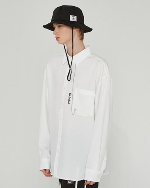 ベドインベド(BADINBAD)POCKET CHAIN SHIRT_WHITE
