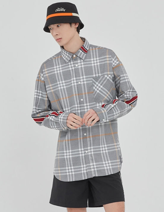 ロマンティッククラウン(ROMANTIC CROWN)BACK LINE CHECK SHIRT_GREY