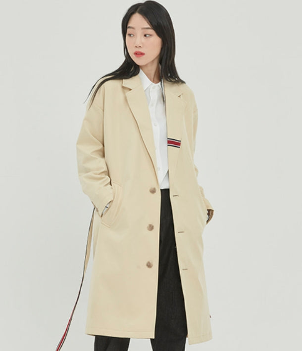 ロマンティッククラウン(ROMANTIC CROWN)BELT TAPE OVERFIT COAT_OATMEAL