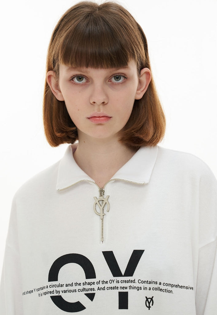 オーワイ(OY)   ZIPPER LOGO T-WHITE
