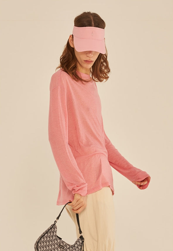 サーティーンマンス(13MONTH) LONG SLEEVE SEE-THROUGH T-SHIRT (PINK)