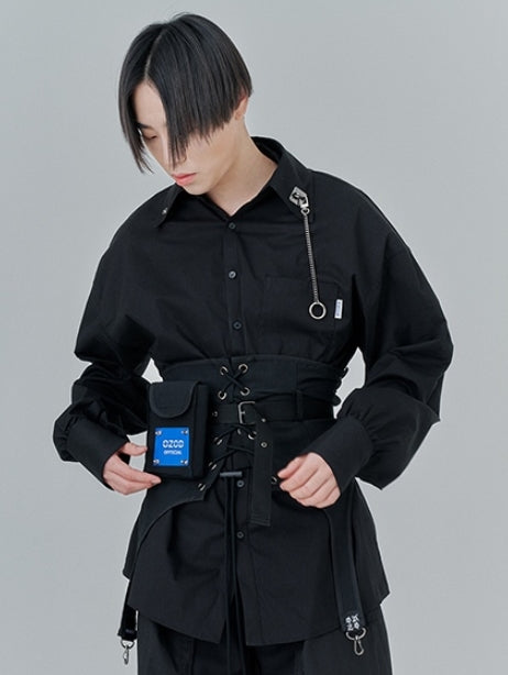 オージーオーディー(OZOD) CHAIN BIG SHIRTS_black